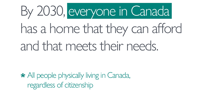 By 2030, *everyone in Canada* has a home that they can afford and that meets their needs. *All people physically living in Canada, regardless of citizenship.