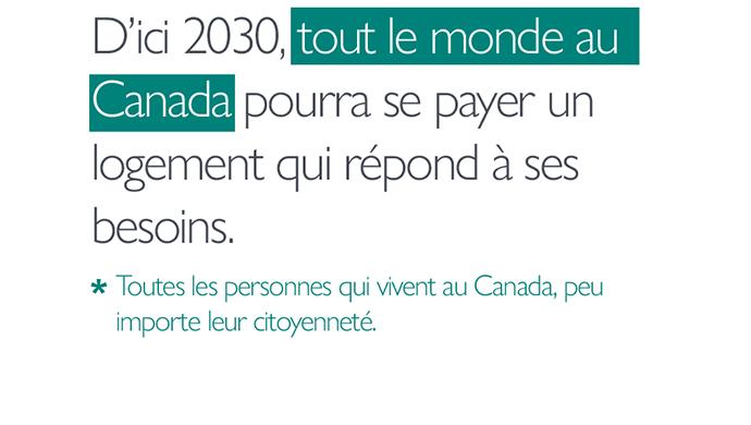 Notre aspiration : D'ici 2030, *tout le monde au Canada* pourra se payer un logement qui répond à ses besoins. *Toutes les personnes qui vivent au Canada, peu importe leur citoyenneté.
