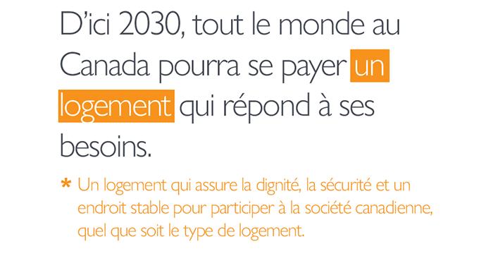 Notre aspiration : D'ici 2030, tout le monde au Canada pourra se payer *un logement* qui répond à ses besoins. *Un logement qui assure la dignité, la sécurité et un endroit stable pour participer à la société canadienne, quel que soit le type de logement.