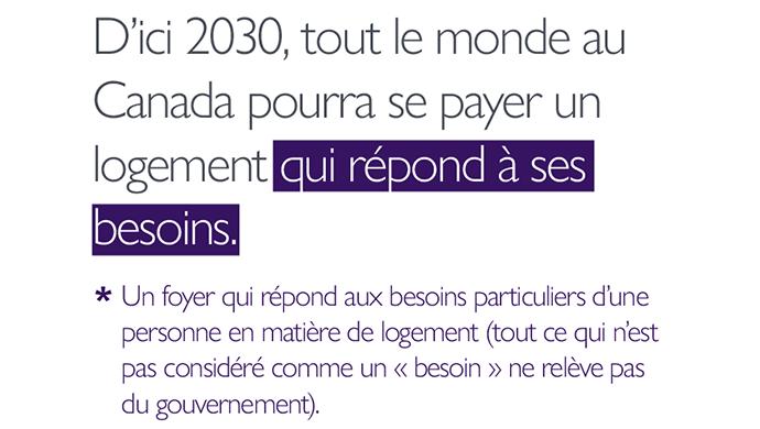 Notre aspiration : D'ici 2030, tout le monde au Canada pourra se payer un logement *qui répond à ses besoins*. *Un foyer qui répond aux besoins particuliers d'une personne en matière de logement (tout ce qui n'est pas considéré comme un « besoin » ne relève pas du gouvernement).